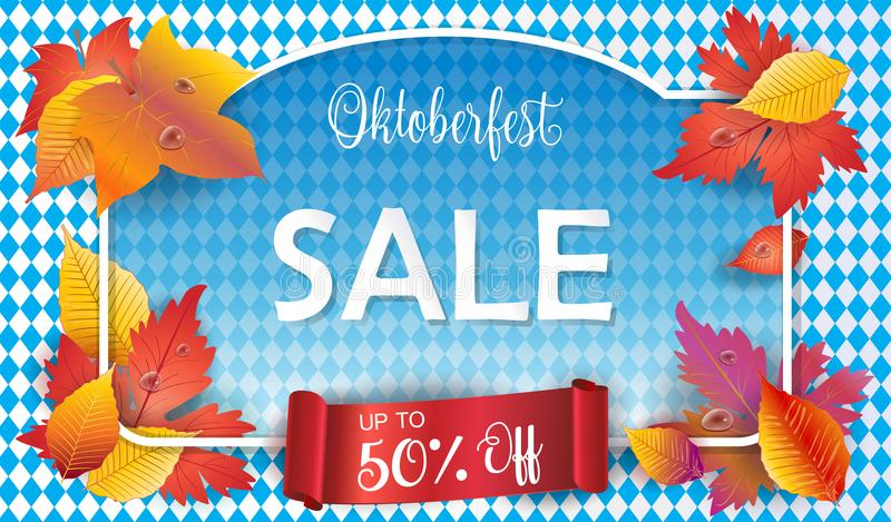 Oktoberfest. Sale - Holiday poster with Autumn leaves on Bavarian flag blue pattern. Vector gift card. Germany`s  world`s biggest wine, beer festival sales vector illustration