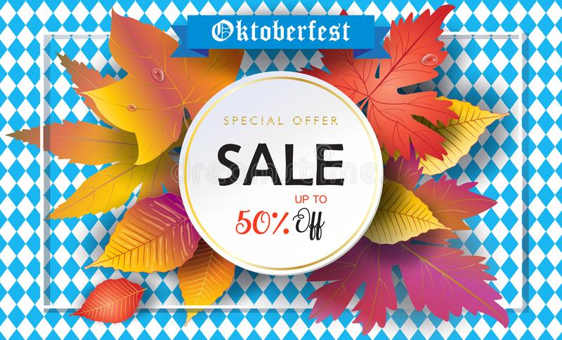 Sale Oktoberfest - Holiday poster with Autumn leaves on Bavarian flag blue geometric pattern. Fall Season Munich October fest. Oktoberfest - Holiday poster with stock illustration