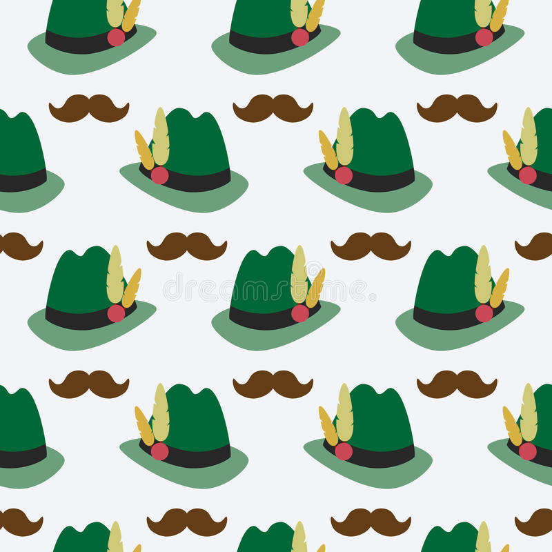 Oktoberfest seamless pattern with bavarian hat and moustaches. Vector illustration royalty free illustration