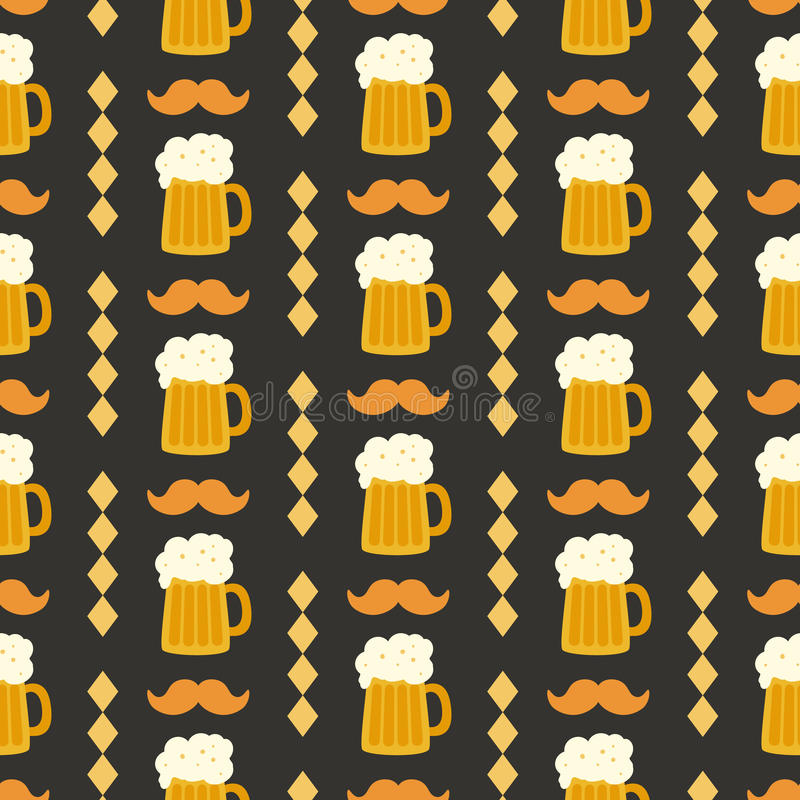 Oktoberfest seamless pattern with beer mug on black background royalty free illustration
