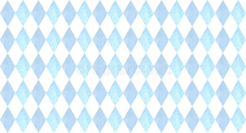 Oktoberfest seamless pattern with blue rhombuses. watercolor illustration for prints, cards, posters royalty free illustration