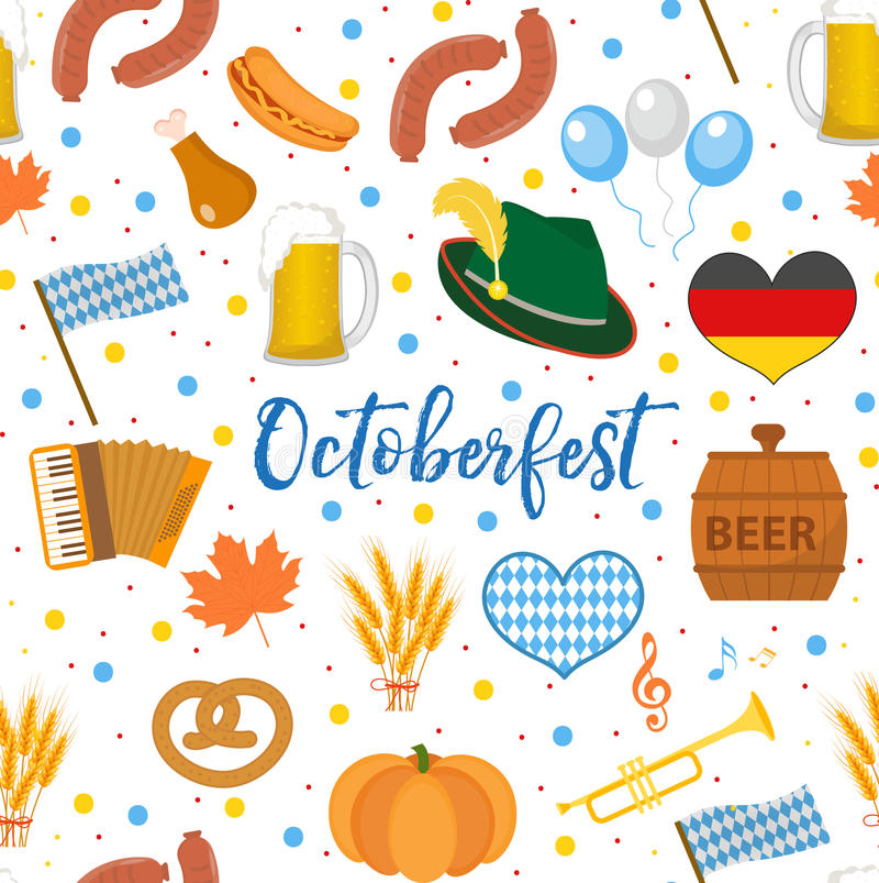 Oktoberfest seamless pattern. October fest in germany endless background. Repeating texture with beer, sausages and vector illustration