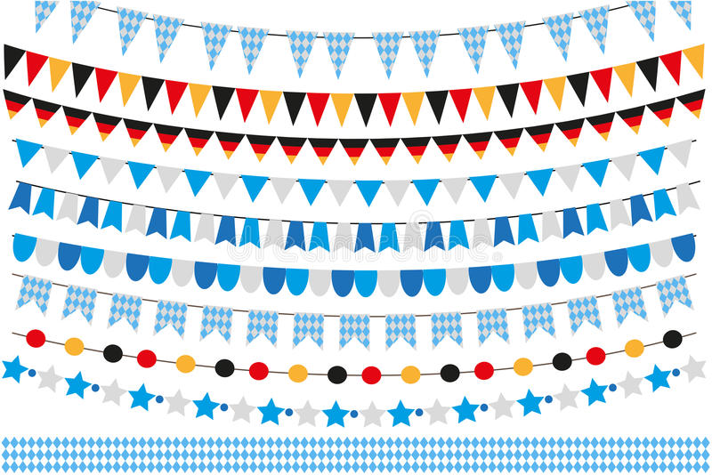 Oktoberfest set of flags, bunting, garland. October fest in germany collection of design elements. on white stock illustration