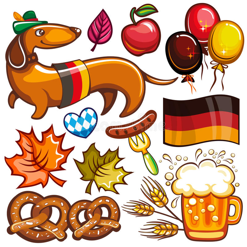 Oktoberfest vector set of icons and objects. Oktoberfest set. Food and drink, beer mug, Munich brewers hat, dachshund dog with German flag, pretzels, hot dog royalty free illustration