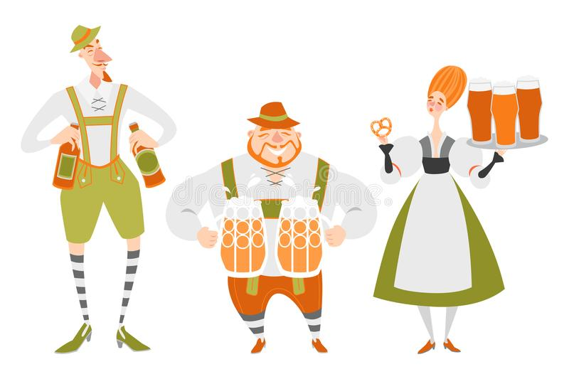 Oktoberfest set of funny cartoon characters in Bavarian costumes. People with beer. On a white background vector illustration