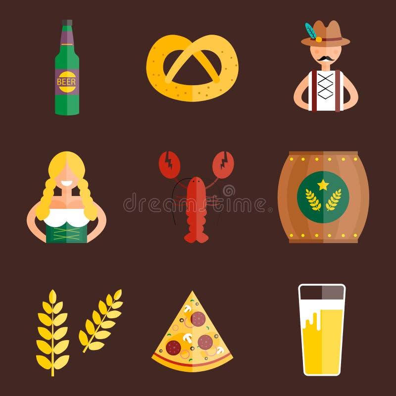 Oktoberfest set icons vector illustration. vector illustration
