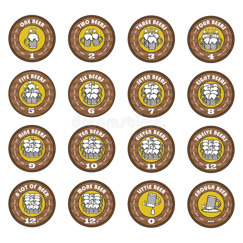 The-Oktoberfest-A-set-of-vector-funny-arithmetic-logos-of-beer-elements-for-a-bar-or-pub-menus-icons-emblems-Vector-illustration stock illustration