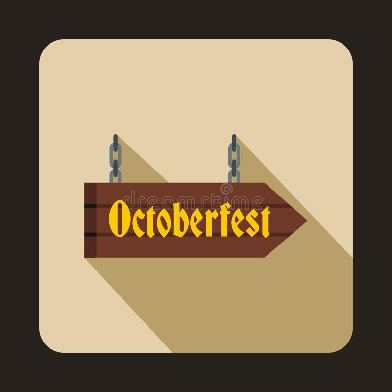 Oktoberfest signboard icon, flat style. Oktoberfest signboard icon in flat style isolated with long shadow royalty free illustration