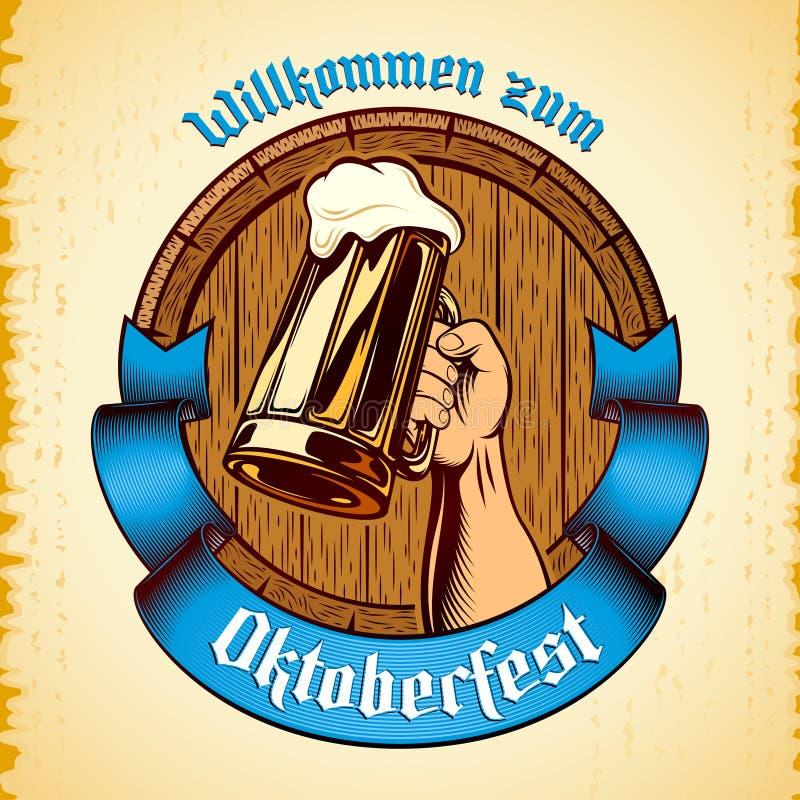 Oktoberfest a soulevé le fond Enrgaving de cru de tonneau de baril de bière en verre de main illustration de vecteur