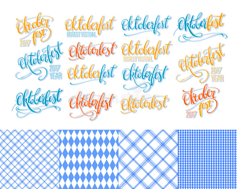 Oktoberfest stickers hand lettering, brush pen calligraphy inscriptions set. Colorful word Oktoberfest collection royalty free illustration