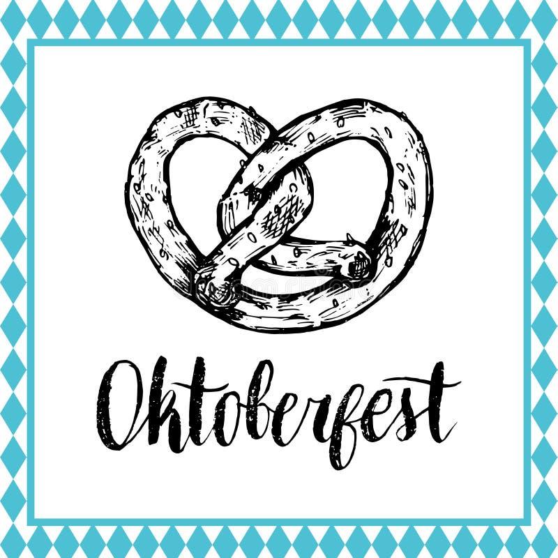 Oktoberfest symbol. Beer festival sign with hand sketched bagel. Bavarian pretzel drawing. Wiesn badge. Oktoberfest symbol. Beer festival sign with hand vector illustration