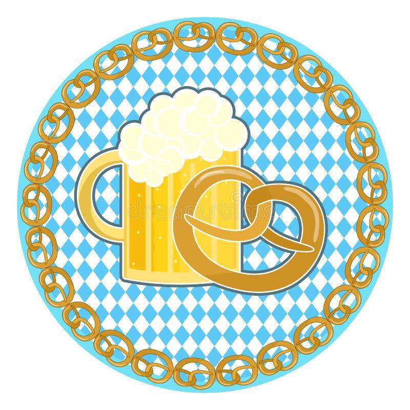Oktoberfest symbol with beer and pretzel on round bavarian flag background. Traditional german oktoberfest holiday symbol with beer and pretzel on round bavarian vector illustration