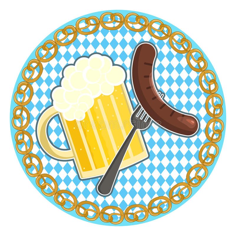 Oktoberfest symbol with beer and sausage on round bavarian flag background. Traditional german oktoberfest holiday symbol with beer and sausage on a fork on stock illustration