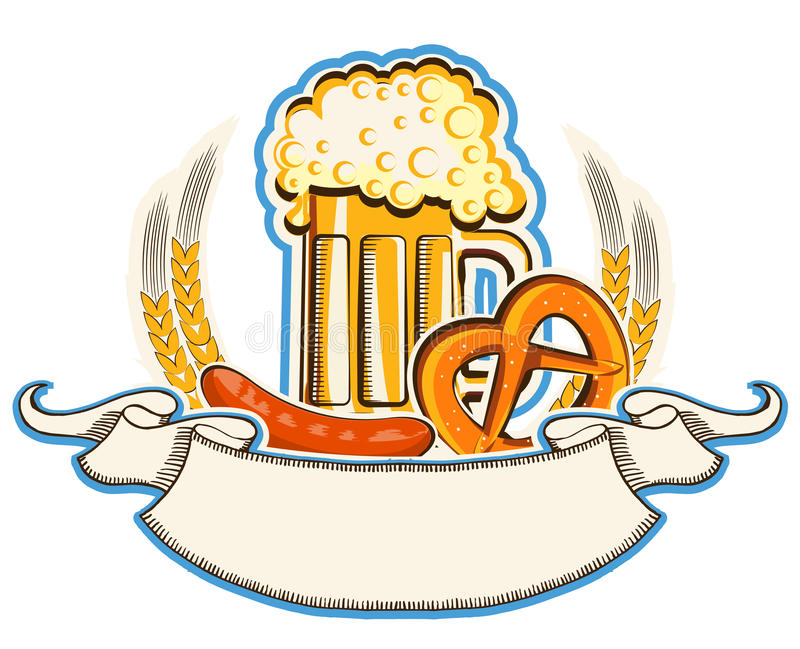 Oktoberfest symbol with beer and traditional food stock illustration