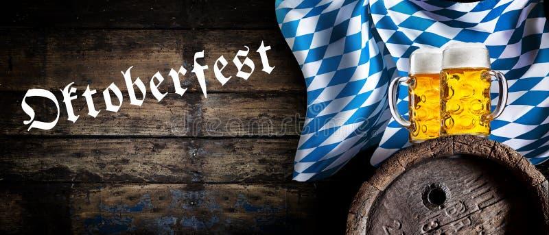 Oktoberfest sztandar z Bawarską flaga obraz royalty free