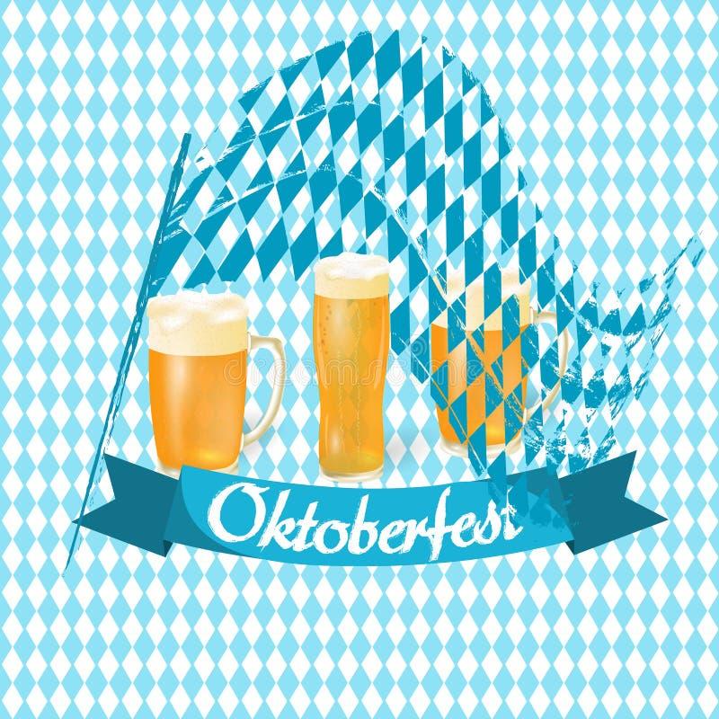 Oktoberfest sztandary w Bawarskim kolorze Flaga, lekki piwo w różnych szkłach tła Oktoberfest ilustracja ilustracja wektor