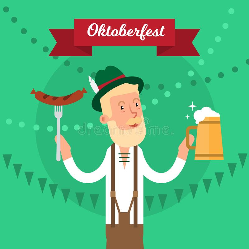 Oktoberfest traditional festival party concept vector illustration poster. National celebration holiday graphic design. royalty free illustration