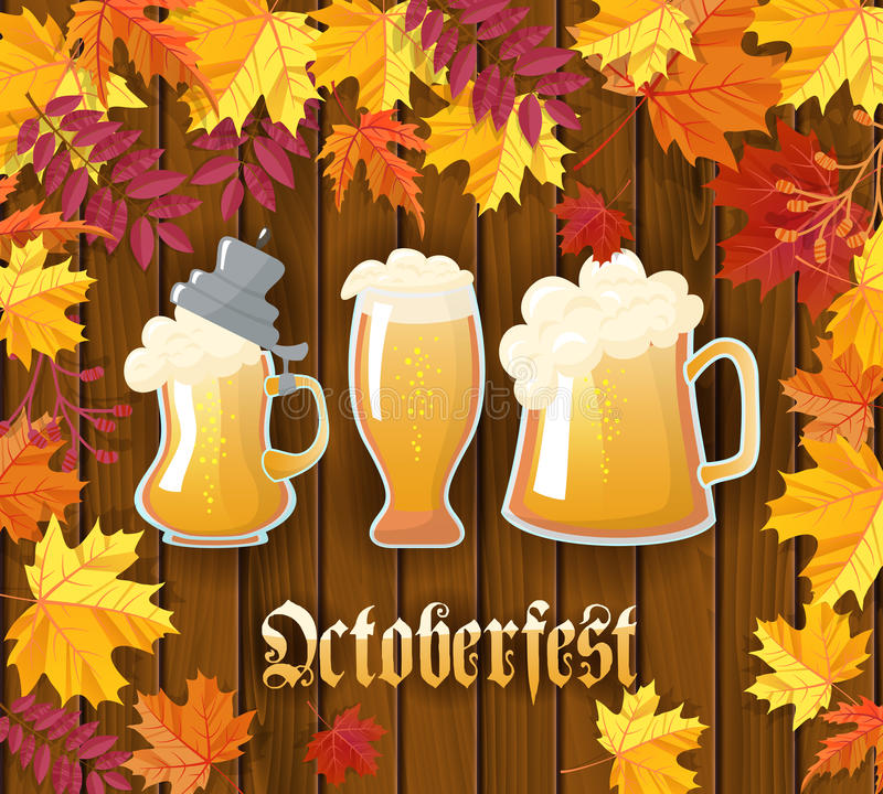 Oktoberfest .Traditional German autumn festival of beer background.Three mugs of beer on a wooden background with frame vector illustration