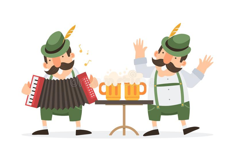 Oktoberfest. Two funny cartoon mens in traditional Bavarian costume with beer mugs celebrate and have fun at Oktoberfest beer fest. Two funny cartoon mens in royalty free illustration