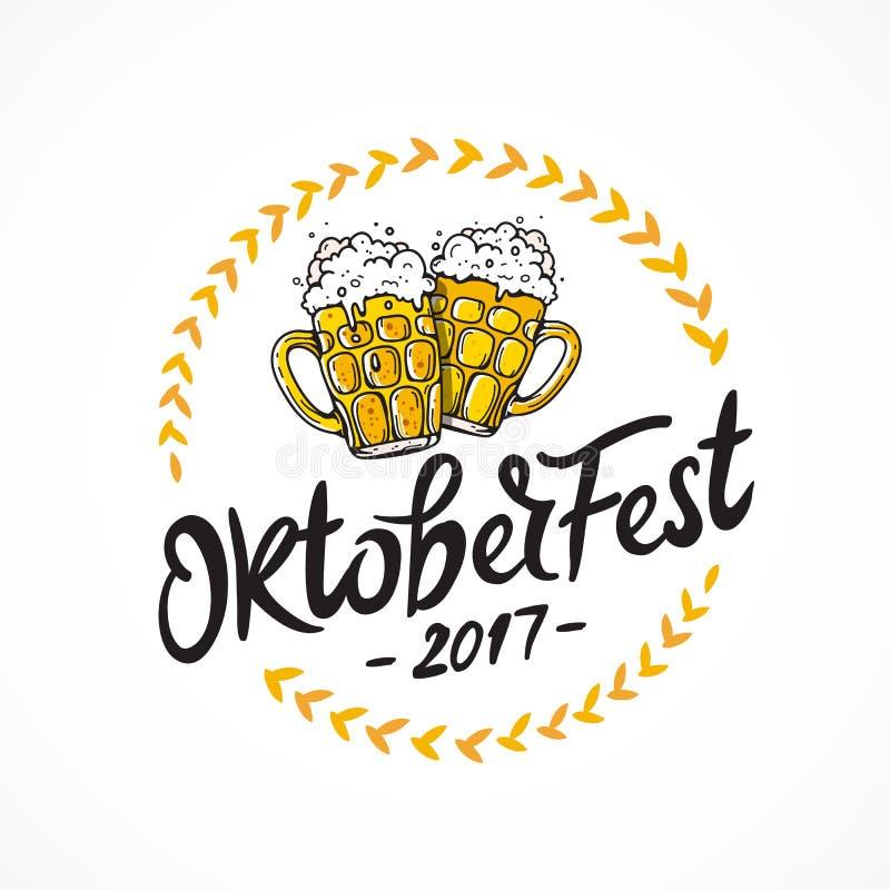 Oktoberfest 2017. Two mugs of beer stock illustration
