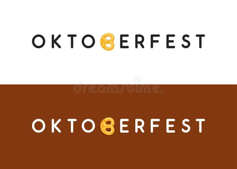 Oktoberfest typography logo for Web site header and footer or flyer in modern style design. Vector caption with letter like German Pretzel vector illustration