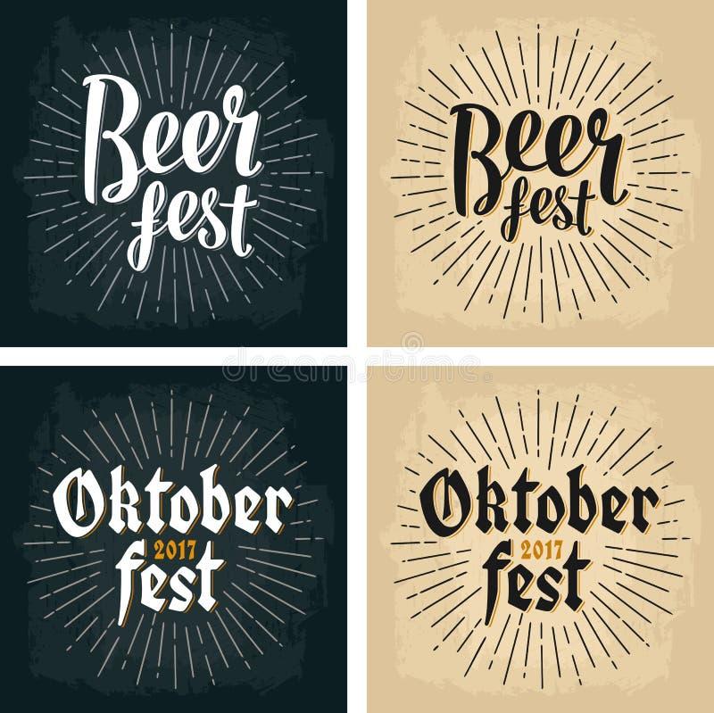Oktoberfest 2017 und Bier Festbeschriftung mit Strahlen stock abbildung