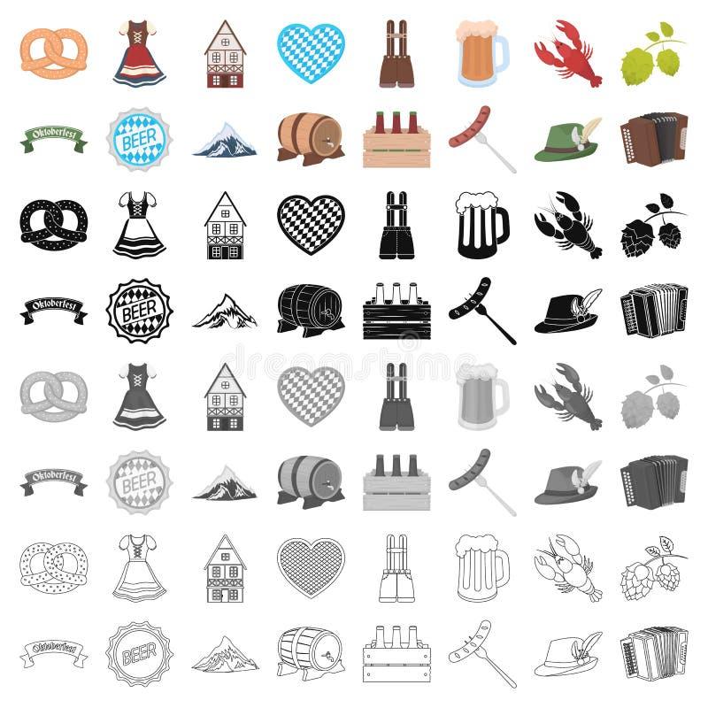 Oktoberfest uppsättningsymboler i tecknad filmstil Stor samling av illustrationen för materiel för Oktoberfest vektorsymbol vektor illustrationer