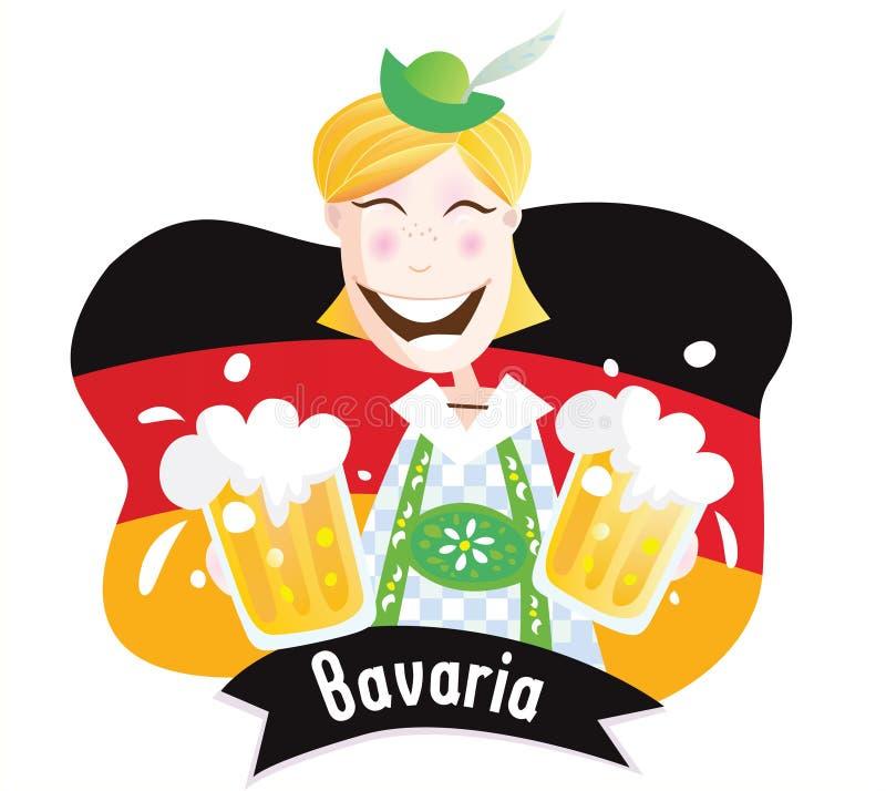 Oktoberfest (varón bávaro con la cerveza) ilustración del vector
