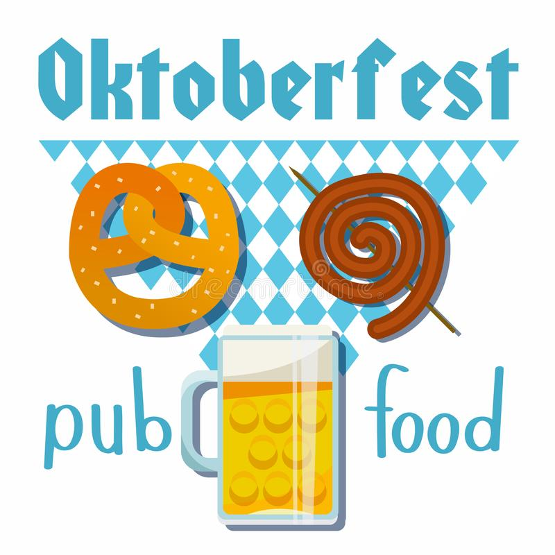 Oktoberfest 2018 of vector flat illustration. Beer, meat, fast food, mug, snack, pretzel, sausage on white blue Bavarian rhombic. Oktoberfest 2018 Pub food ste royalty free illustration