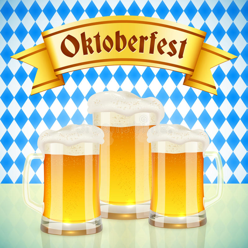 Oktoberfest vector greeting card with beer stock illustration