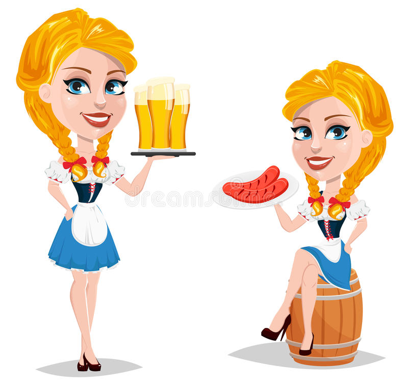Oktoberfest vector illustration with redhead girl sitting o. N barrel and holding plate with sausages and lady standing with beer. Cartoon character. Can be used stock illustration