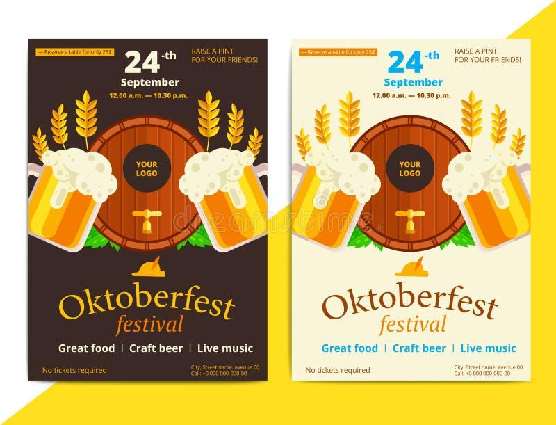 Oktoberfest vector poster background design. Octoberfest holiday royalty free illustration