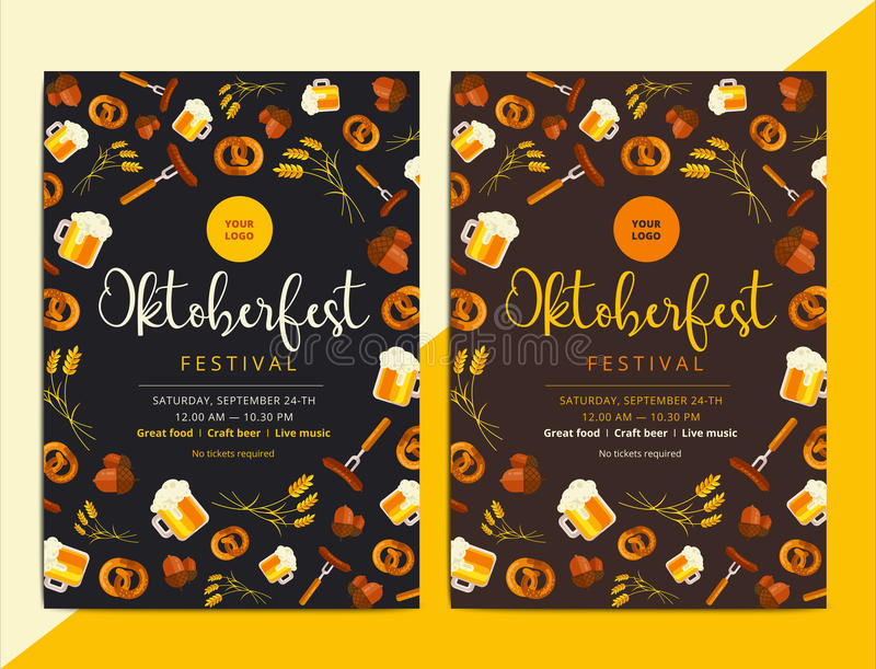 Oktoberfest vector poster background design. Octoberfest holiday. Banner layout. Party or event flyer with pattern and traditional bavarian symbols. Promo or stock illustration