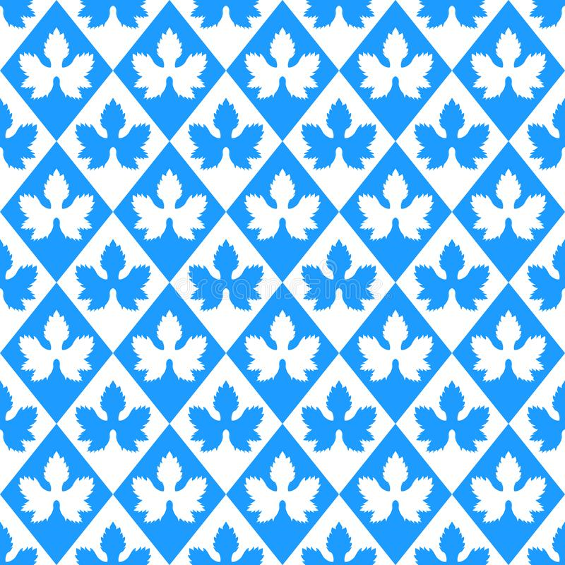 Oktoberfest vector seamless pattern. Silhouette hop leaves, rhombus seamless texture. German blue and white geometric background. Kitchen textile, wrapping vector illustration