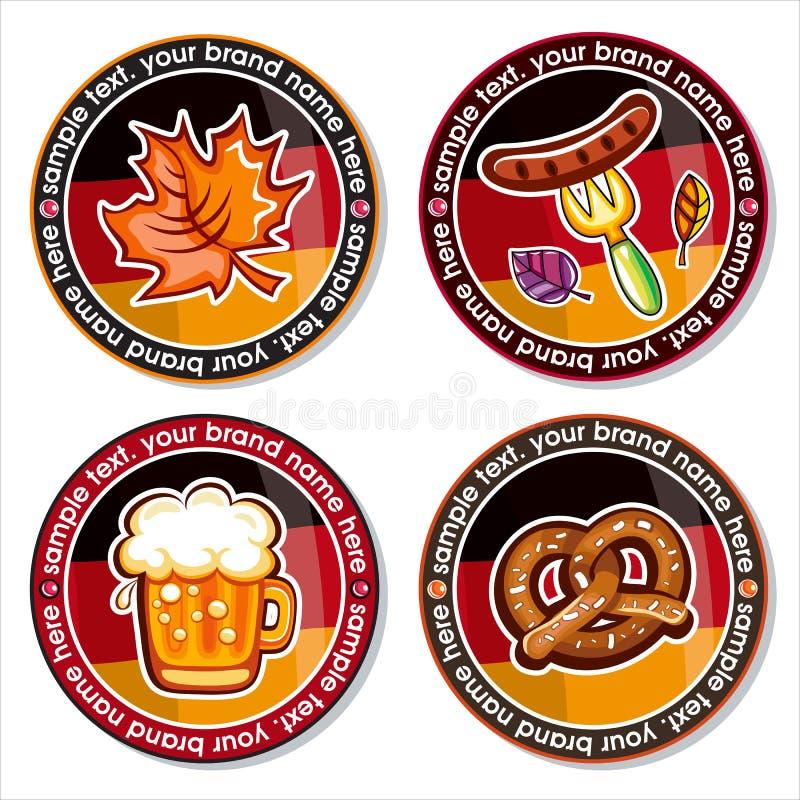 Oktoberfest vector set of drink coasters. stock illustration