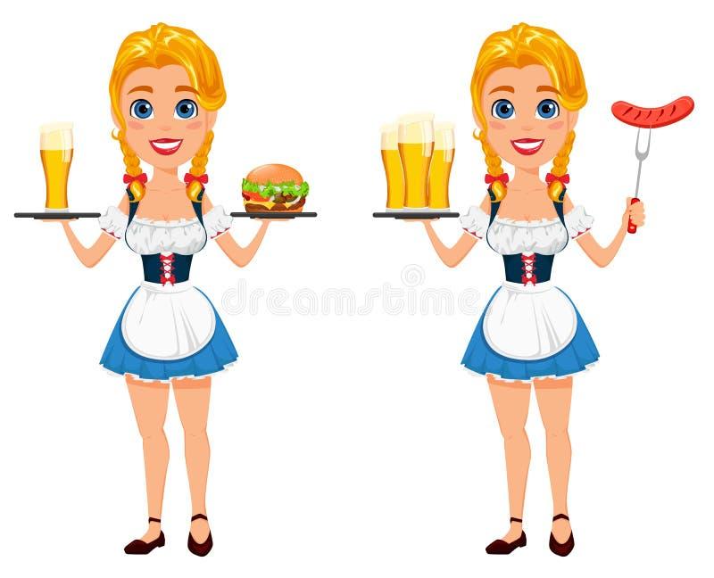 Oktoberfest vektorillustration med den sexiga rödhårig manflickan som rymmer b stock illustrationer