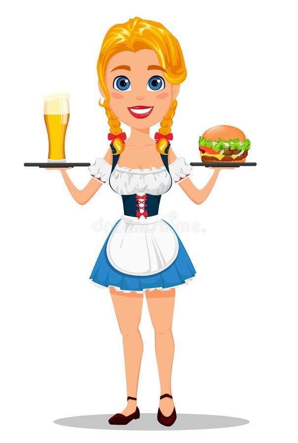 Oktoberfest vektorillustration med den sexiga rödhårig manflickan som rymmer G royaltyfri illustrationer