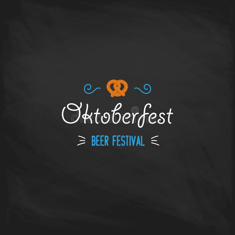 Oktoberfest vintage poster or greeting card on a chalkboard background. Beer festival lettering typography set royalty free illustration