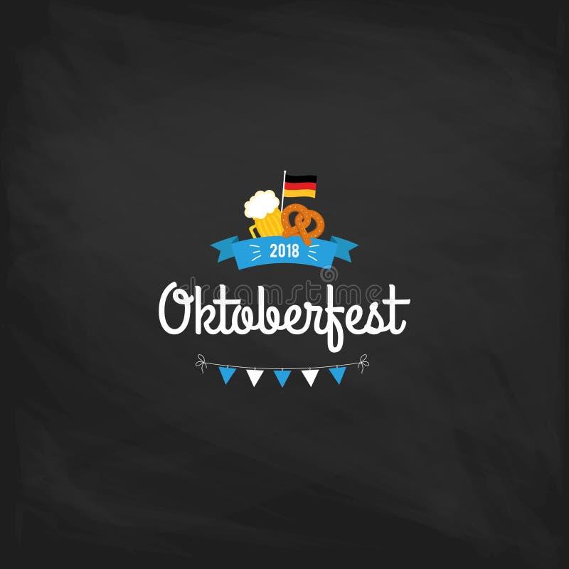 Oktoberfest vintage poster or greeting card on a chalkboard background. Beer festival lettering typography set vector illustration