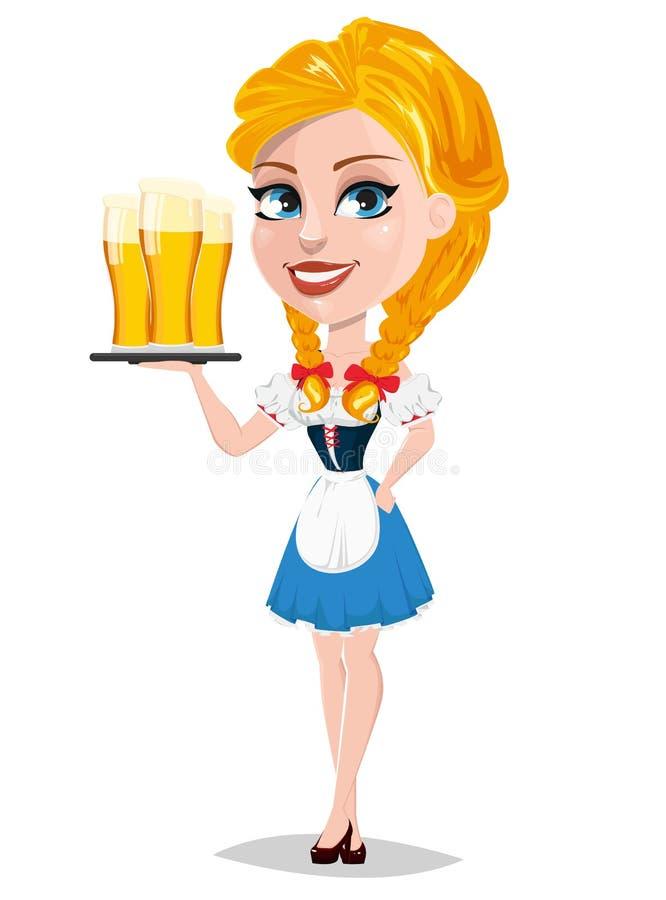 Oktoberfest wektorowa ilustracja z seksowną rudzielec dziewczyną trzyma t royalty ilustracja