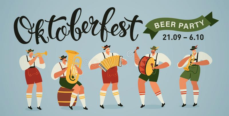 Oktoberfest world biggest beer festival opening parade musicians with historical costumes playing trumpet, accordion and stock illustration