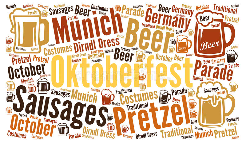 Oktoberfest-Wortwolke lizenzfreie abbildung