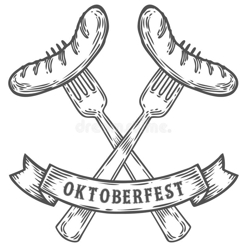 Oktoberfest-Wurst auf Gabel Glückliche oktoberfest schwarze Fleischlebensmittelweinlese graviert lizenzfreie stockbilder
