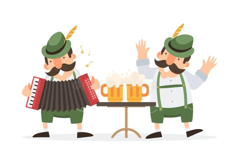 Oktoberfest zwei lustiger Karikaturmänner im traditionellen bayerischen Kostüm mit den Bierkrügen feiern und haben Spaß an Oktobe lizenzfreie abbildung