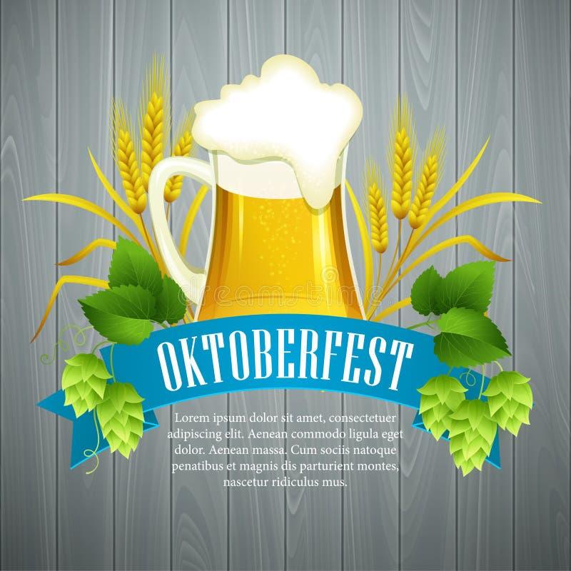 Oktoberfestachtergrond met Bier Het malplaatje van de affiche royalty-vrije illustratie