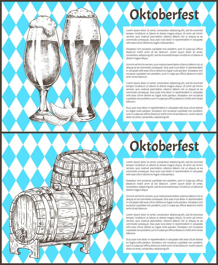Oktoberfestaffiches Geplaatst Vaatje van Bier en Ale Glass vector illustratie