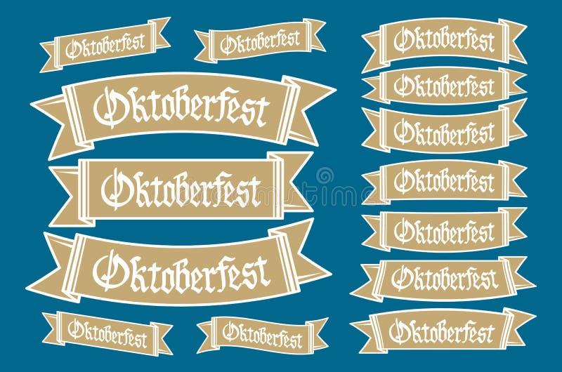 Oktoberfestbanners in Beierse kleuren vectorreeks Lint van het festival het witte en blauwe Oktoberfest van Beieren Het ontwerp n vector illustratie