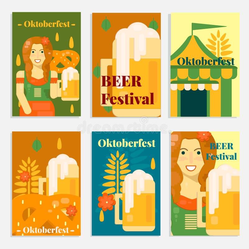 Oktoberfestbanners en kaarten in vlakke stijl vector illustratie