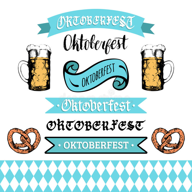 Oktoberfestlinten en het van letters voorzien inzameling voor de vlieger van het bierfestival Vectorhand geschetste reeks glasmok royalty-vrije illustratie