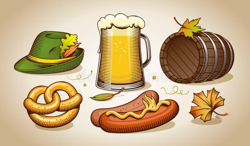 Oktoberfestsymbolen en pictogrammen vector illustratie